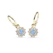 Náušnice pro miminko zlaté Cutie Jewellery C2749Z-Světle modrá