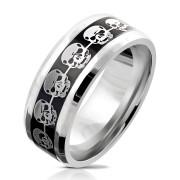 Ocelový prsten pro muže 6035-lebka