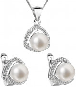 Stříbrná souprava perlových náušnic a přívěsku 29011.1