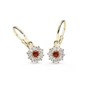 Náušnice pro miminko zlaté Cutie Jewellery C2749Z-Červená