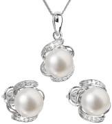Stříbrná souprava perlových náušnic a přívěsku 29017.1