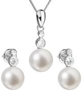 Stříbrná souprava perlových náušnic a přívěsku 29035.1