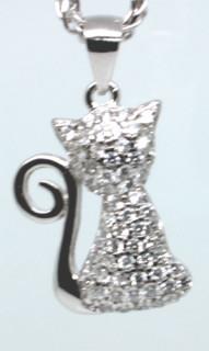 Přívěsek na krk stříbrný kočka 303060