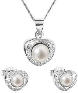 Stříbrná souprava perlových náušnic a přívěsku 29025.1