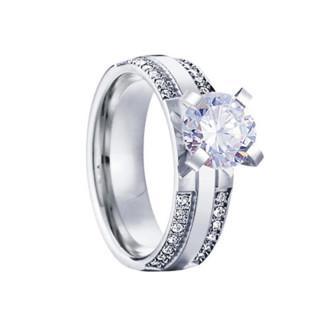 Ocelový zásnubní prstýnek SPPL023