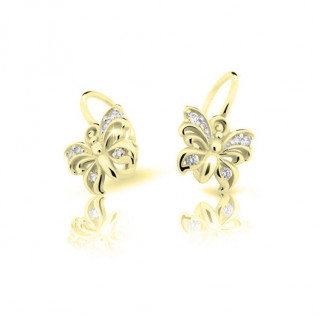 Zlaté dětské náušnic eCutie Jewellery C2226Z CZ White