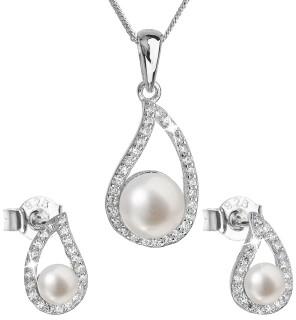 Stříbrná souprava perlových náušnic a přívěsku 29027.1