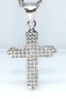 Stříbrný křížek se zirkony 304303