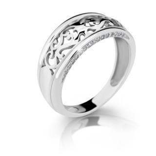 Stříbrný prsten se zirkony 2375