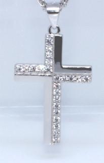 Stříbrný křížek se zirkony 306200