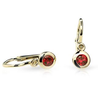 Dětské náušnice Cutie Jewellery C1537Z Ruby Dark -Žluté zlato 585/000