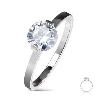 Dámský ocelový prsten se zirkonem 6445