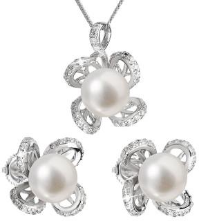 Stříbrná souprava perlových náušnic a přívěsku 29016.1
