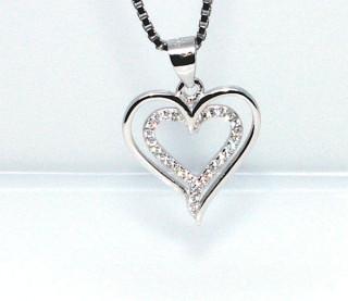 Stříbrný přívěsek srdce 305788