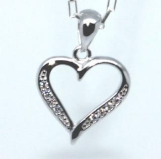 Stříbrné srdce se zirkony 306265