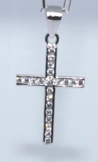 Stříbrný křížek se zirkony 304304