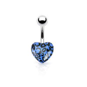 Srdíčkový piercing do pupíku 1104-Blue