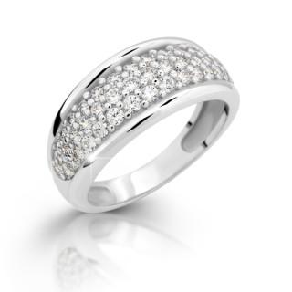 Stříbrný prsten se zirkony 2335